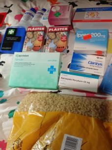 Allergimedicin, värktabletter, plåster etc